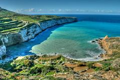 Fomm ir-Rih Bay, Malta (leslievella64) Tags: winter beach bay coast nikon europe mediterranean d70 nikond70 terraces eu malta cliffs leslie maltese malte terraced fommirrih maltais terracedfields leslievella64