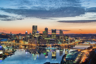 A colorful morning dawns in Pittsburgh as seen from the West End Overlook