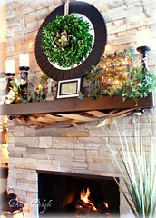 Spring Mantel (dining delight) Tags: bunny birdcage fireplace ivy lantern candlesticks minilights heisrisen boxwoodwreath blackroundmirror |springmantel