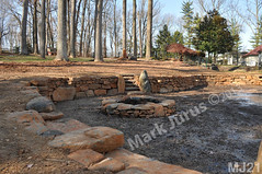 WM Mark Jurus 21, retaining wall, fire pit, out door space, steps, flat cap stones, dry laid stone construction, copyright 2014