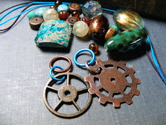 Steampunk Fabulous ;) (SoulsFireDesigns) Tags: gold teal copper blythe brass steampunk pullring pullcharm blythepullring blythepullcharms blythepull pullkit blythepullkit