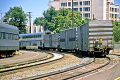 Amtrak No. 6 Leaving Sacramento (craigsanders429) Tags: amtrak amtraktrains amtraksuperliners passengertrains passengercars sacramentocalifornia california amtrakscaliforniazephyr amtrakmaterialhandlingcars amtrakboxcars tracks railroadtracks