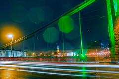 Green bridge? (pasiak75) Tags: 2017 grundawdzki wrocław brigde cathedral deszcz green katedra lights lines linie most night noc rain zielony światła