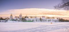 Novodevichy Convent & frozen lake. (Syuqor7) Tags: lake frozen frozenlake moscow moskva evening sunset winter winterbackground winterwonderland nikon nikonrussia russia panorama