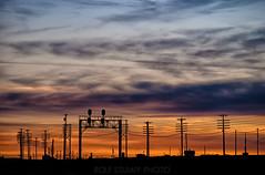 Granger, WY (rolfstumpf) Tags: usa wyoming granger railway railroad telegraph sunset evening shadows codeline signals signalbridge clouds sky