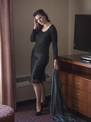Planning to Stay for a While, Aren't You? (Pennant) Tags: stockings garters black satin slip skirt necklace