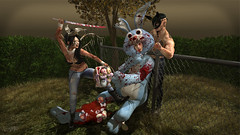 Easter's Demise (Wolfie Vagabond) Tags: easter bunny rabbit suit mask samurais sword barbed wire strangulation blood gore evil eggs cotton plush dead death wolfie vagabond chippiannock cemetery poses