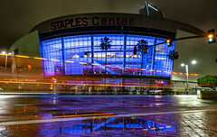 Staples Center (PhotonLab) Tags: metro los angeles dtla westcoast sony socal a7ii zeiss lens carl tunnel underground train tracks transportation night scene shooter low light hdr nocturnal lights rain railroad longexposure losangeles staplescenter arena basketball sports lowlight reflection reflections reflect water lighttrails lightpainting