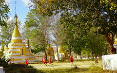 ...time to pray, time to play... (sunvita33) Tags: monk novice playing play football game temple burma myanmar travel asia vitawiehl sonyilce sony