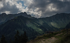 Human and Nature (Netsrak) Tags: kleinwalsertal mountain mountains berg berge gebirge alpen alps nature natur austria at path weg wanderweg cloud clouds wolken wolke licht light