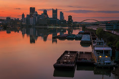 River Running Pink (Brad Truxell) Tags: pittsburgh ohioriver threerivers barge city sunrise reflection river thepoint bridges exposureblending hdr nikond7000