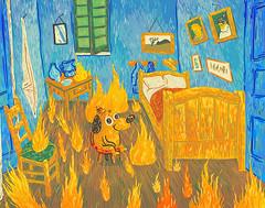 This is Fine - Memes Art Show (scott balmer) Tags: thisisfine artshow gallery1988 g1988 meme vangogh digital bedroom fire painting illustration