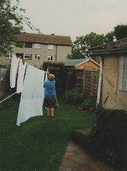 Cheltenham back garden  May 1997 (hargreaves.david) Tags: cheltenham washing line maryhargreaves