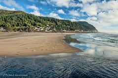 The Beach at Yachats Oregon (Michael Guttman) Tags: beach ocean river yachats oregon sand yachatsriver yachatsoceanroadstatenaturalsite sky clouds landscape seascape oceanscape seagulls waves reflections