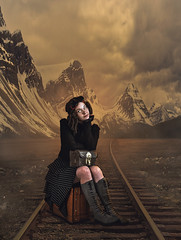 Poster Practice - Traveller (chiaralily) Tags: chiaralily photoshop manipulation collage montage travel poster steampunk girl suitcase traintracks journey mountains tutorial
