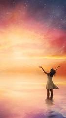 Happiness (musa57120) Tags: surreal dream stars night sky sunset sunrise lake ocean ripples waves calm peaceful colorful nebula universe galaxy woman girl swim reflection concept beautiful nature water shining light glow praise worship religion god holy