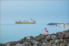 Beached ship near Ajman, UAE. (Jogesh S) Tags: middleeast family blue summilux50asph summilux leicam262 leica longexposure lady beeched ajman uae ship uaeship instagramapp arabia