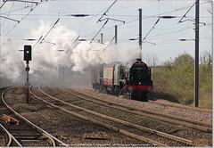 46100 'ROYAL SCOT' and Black 5 45407 work north through Huntingdon on 5Z60, March 21st 2017 a (Bristol RE) Tags: royalscot black5 46100 6152 45407 huntingdon 5z60 460 stanier fowler ivatt lms br britishrailways
