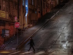 Peter steps (karinavera) Tags: travel sonya7r2 street sanfrancisco walking people city night urban rain