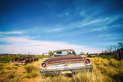I'm All Cracked Up on the the Highway and in the Water's Edge (Thomas Hawk) Tags: america ford fordgalaxie500 galaxie500 newmexico route66 usa unitedstates unitedstatesofamerica abandoned auto automobile car junkyard fav10 fav25 fav50 fav100