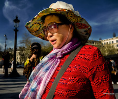 Street - Asian Tourist (François Escriva) Tags: street streetphotography paris france people candid olympus omd woman asian colors red blue yellow orange purple sunglasses green sky clouds light sun hat scarf trees buildings