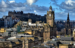 Windy Edinburgh (manuelecant) Tags: edinburgh scotland uk city town capital tower castle hill sky wind monument building panorama view sight clock nikon d5500 hdr