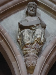 Seated Figure (Aidan McRae Thomson) Tags: worcester cathedral worcestershire carving medieval restored sculpture