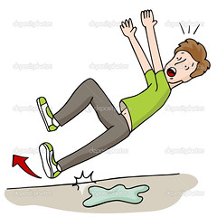 Man Slipping on Wet Foor (mundomaior) Tags: man male slip slipped slipping fall falling over down wet floor accident injury water clumsy workplace cartoon character design element isolated white arrow illustration graphic clip art clipart vector