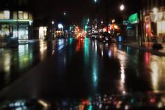 April showers continue (beyondhue) Tags: street rain wet pavement reflection dark night spring shower april beyondhue traffic light water drop