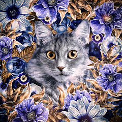Cat In Flowers. Autumn (♥Oxygen♥) Tags: animal cute art cartoon cat character decorative design face funny head illustration kitten kitty nature ornament pet round beautiful bloom blossom childish circle decor decoration drawn floral flower frame garden greeting hand postcard pussycat retro romantic smile spring summer sweet wreath feline season botanical painting digital fluffy portrait impression autumn blue orange oksanaariskina fineartcat printcat domesticcat catart childrensart digitalpainting digitalillustration catdrawing catportrait children homeinterior decorativeart