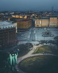 St. Isaac's Square. Saint Petersburg. Russia. (andrey-ivanoff) Tags: square high street saintpetersburg city outdoor panorama peterburg panoramic st petersburg cityview roof architecture isaac view building cathedral landmark cityscape aerial evening town blue urban construction travel house top landscape isaacs russia monument saint sanktpeterburg ru
