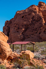 Redstone (Lake Mead National Recreation Area) Tags: geology hiking monolith northshore picnic red redstone sandstone trail walking shelter table