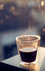 Morning coffee in sunlight (WillemijnB) Tags: coffee black light sunlight morning steam koffie café bokeh delicious glass glas verre vapeur window