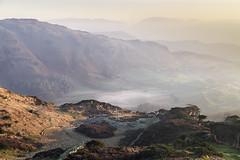 A SHARP INTAKE OF BREATH (SwaloPhoto) Tags: fujixt1 shadows trees quarry littlelangdale lingmoor fell greatintake mist inversion lakedistrict national park cumbria england centralfells fujinon xf18135mm f3556 rlmoiswr sunrise mountains