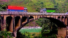 NEPAL, Auf dem Weg nach Pokhara, Brücke, 16016/8291 (roba66) Tags: bus car camion lkw lastwagen auto brücke bridge fluss river rio reisen travel explore voyages roba66 visit urlaub nepal asien asia südasien pokhara