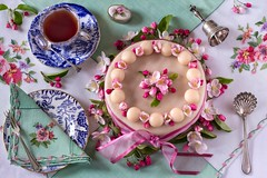 Happy Easter — a Redecorate of the Simnel Cake (memoryweaver) Tags: silver teacup cup tea memoryweaver spring bell antiques pinks pink blossom appleblossom marzipan simnel flatlay topdown tablecloth embroidery homemade cake sunday easter