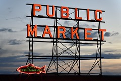Pike Place Market Seattle (Beautification Syndrome) Tags: seattle publicmarket seattlepublicmarket citymarket fishmarket fish trip neonsign seafood pikeplace pikeplacemarket sign