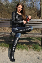 Tatjana 29 (The Booted Cat) Tags: sexy cute teen girl model tight blue jeans heels highheels boots leather jacket