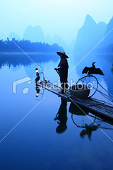 Fishermen fishing (MPBHAIBO) Tags: china blue mountain reflection water sunrise river landscape liriver fishing fisherman asia guilin yangshuo hill cormorant lantern  lijiang  chineseculture    ruralscene fishingindustry   karstformation nauticalvessel chineseethnicity woodenraft    guangxiregion