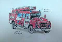 Firetruck (utnapishtiy1) Tags: firetruck usk urbansketchers uploaded:by=flickrmobile flickriosapp:filter=nofilter
