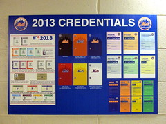 Citi Field, 05/16/13: poster showing 2013 credentials, displayed on the wall in the tunnel at various locations (IMG_0908a) (Gary Dunaier) Tags: newyorkcity baseball stadiums queens mets queensborough newyorkmets queensboro ballparks flushing stadia queenscounty citifield