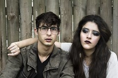Alex and Gaby (mynameismaggielee) Tags: portrait house black male alex grass hat fashion musicians female forest canon fence dark glasses model couple florida witch band makeup glam 5d sarasota f56 psychedelic electronic thompson angst gabriella sanchez