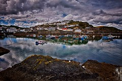 Mevagissey Outer Harbour (rogueslr) Tags: sea cloud reflection water photoshop canon boats fishing harbour nik outer mapping tone floats mevagissey 50d cs5 efex