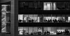 Working Late ... (aberconwyphotography) Tags: blackandwhite bw building window glass architecture stairs mirror office sheffield diagonal staircase blinds presentation workinglate
