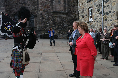 Fiona Hyslop with Fredrik Edfeldt, director of Sanctuary, accepting the Quaich on behalf of this year's international guest