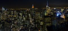 Manhattan at Night (PangolinOne) Tags: panorama usa newyork skyline america skyscraper cityscape unitedstates manhattan places coastal empirestatebuilding chryslerbuilding bryantpark metlifetower newyorklifebuilding metlifebuilding gebuilding bankofamericatower