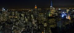 Manhattan at Night (PangolinOne) Tags: panorama usa newyork skyline america skyscraper cityscape unitedstates manhattan places coastal empirestatebuilding chryslerbuilding bryantpark metlifetower newyorklifebuilding metlifebuilding gebuilding bankofamericatower