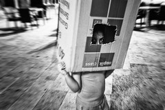 The box (unoforever) Tags: street boy people monochrome photography calle gente box streetphotography caja streetphoto chico tarragona fotografa spnc spmonochrome unoforever