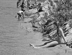 D7K 8077 ep (Eric.Parker) Tags: bw ontario beach water swimming sand july suit lakeontario bathingsuit sandbanks sanddunes sandbanksprovincialpark princeedwardcounty 2013 quintesisle