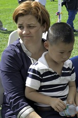 christine c quinn, mayoral candidate, rescues lost child in queens park (branko_) Tags: new york festival lost ecuador child christine queens quinn candidate comforts mayoral rescues